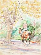 Marshall Goodman Woman Riding Horse In Park Watercolor On Paper
