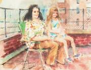 Marshall Goodman Two Women On Nyc Rooftop Watercolor On Paper Signed