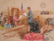 Marshall Goodman, Courtroom 49, Juror Reading The Verdict, Watercolor On Paper,