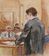 Marshall Goodman Courtroom 56 Lawyer Speaking To Witness Watercolor On Paper