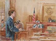 Marshall Goodman Courtroom057 Watercolor On Paper Signed
