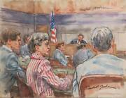 Marshall Goodman Courtroom 59 Members Of The Gallery Ii Watercolor On Paper
