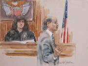Marshall Goodman Courtroom 70 Watercolor On Paper Signed