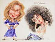 Marshall Goodman Meryl Streep And Cher Watercolor On Paper Signed