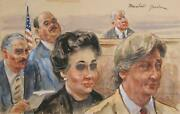 Marshall Goodman Courtroom 184 Watercolor On Paper Signed
