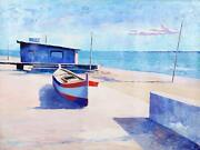 Bassari Seaside One Boat Oil On Canvas Signed Lower Right