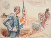 Marshall Goodman Courtroom 189 Watercolor On Paper Signed