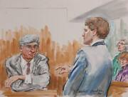 Marshall Goodman Courtroom 327 Watercolor On Paper Signed