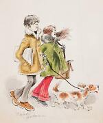 Marshall Goodman New York Couple Walking Dog Watercolor On Paper Signed