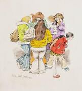Marshall Goodman Group Of Female Students Watercolor On Paper Signed
