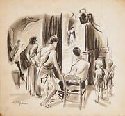 Marshall Goodman Back Stage At Medea Watercolor On Paper Signed