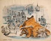 Marshall Goodman Fagin Teaching Boys To Steal Oliver Ii Watercolor On Paper