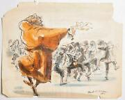 Marshall Goodman Fagin Teaching Boys To Steal Oliver Iii Watercolor On Paper