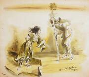 Marshall Goodman Woman And Knight 392 Watercolor On Paper Signed