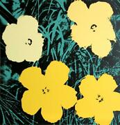 Andy Warhol Flowers 3 Screenprint Sunday B. Morning Stamp In Blue Verso