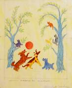 Marshall Goodman Cats In Tree And Dogs Playing Watercolor And Pencil On Paper