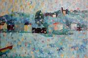 Biagio Civale Along The Arno River Mixed Media On Canvas Signed Lower Right
