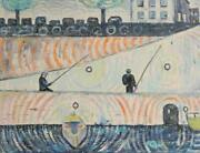 Biagio Civale Along The Siene River Mixed Media On Canvas Signed Lower Right