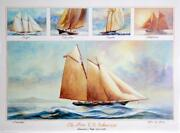 John Gable Five Us Schooners 1851-1876 Offset Lithograph Signed In Pencil
