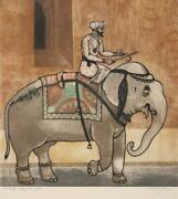 Arun Bose Elephant Ride Etching With Aquatint Signed In Pencil Dedicated