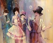 Paul Noiret Juggler And Band Oil On Canvas Signed And Dated L.r.