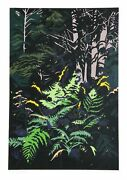 Jon Carsman Yellow Ferns Screenprint Signed And Numbered In Pencil