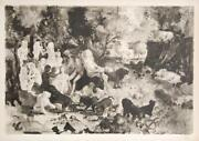 Thomas Cornell Lions And People Lithograph Signed And Numbered In Pencil