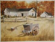 James Feriola Farmhouse In Autumn Watercolor On Paper Signed In Black Ink