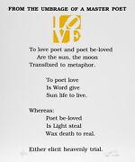 Robert Indiana The Book Of Love Poem - From The Umbrage Of A Master Poet Scree