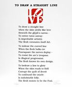 Robert Indiana The Book Of Love Poem - To Draw A Straight Line Screenprint Wit