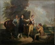 Unknown Artist, Hunting Meeting, Oil On Canvas