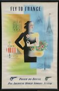Jean Carlu, Fly To France Panamerican Airlines Brazil, Lithograph Poster