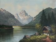 Unknown Artist Mountain Landscape With Cottage Oil On Canvas Signed And039grundand039 L