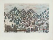 Cuca Romley Winter Mountain Village With Train Poster