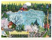 Kay Ameche Walden Pond In Spring Screenprint Signed And Numbered In Pencil