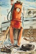 Eve Nethercott, Gas Pump, Watercolor On Paper