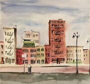Eve Nethercott City Street And City Buildings Study 41 Two-sided Watercolor