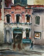 Eve Nethercott City Garage And Red Barn 59 Two Side Watercolor On Paper