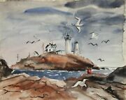 Eve Nethercott Maine Lighthouse 66 Watercolor On Paper