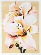 Lowell Blair Nesbitt Peach Lily On Beige Screenprint Signed And Numbered In P