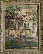 Bastone Walking With Dog In Greenwich Village Oil On Canvas Signed L.l.