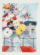 Charles Levier Bouquet Of Flowers On Balcony Watercolor On Paper Signed Lower