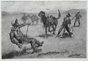 Frederic Remington Teaching A Mustang Pony To Pack Dead Game Wood Engraving S