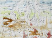 Dimitri Petrov Untitled - Reaching Figures Pencil With Watercolor On Paper Si