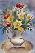 Eve Nethercott Vase Of Spring Flowers P2.48 Watercolor On Paper