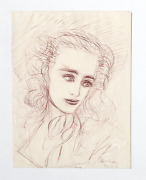 Dimitrie Berea Portrait Of A Woman 19 Ink On Paper Signed