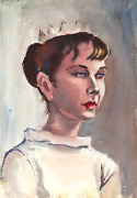 Eve Nethercott Portrait Of A Girl Wearing A Crown P6.35 Watercolor On Paper