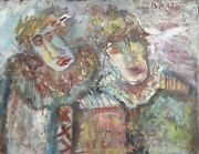 Unknown Artist Two Clowns Oil On Canvas Signed And039b. Mataand039 U.r.