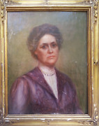 Catherine Denkman Wentworth Portrait Of A Woman In Purple Oil On Canvas Signe