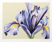 Lowell Blair Nesbitt Iris On Beige Screenprint Signed And Numbered In Pencil